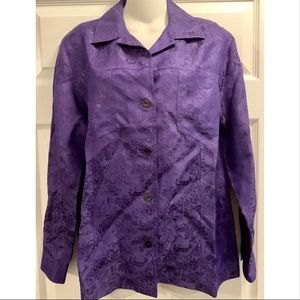 Chico's Asian Inspired Purple Jacket Silk Blend S
